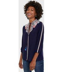 blusa desigual azul - calce regular