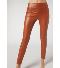 calzedonia thermal leather effect leggings woman yellow size xl