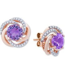 amethyst (1-1/2 ct. t.w.) & diamond (1/10 ct. t.w.) stud earrings in 14k rose gold