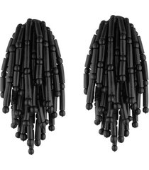 buffalo tassel clip earrings, women's, josie natori