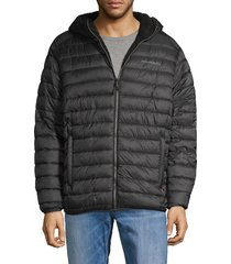 hawke & co men's faux shearling-lined puffer jacket - carbon - size l