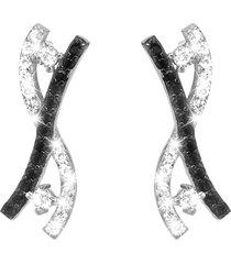 orecchini argento 925 e zirconi bianchi e neri per donna