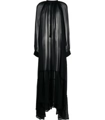 ann demeulemeester balloon-sleeved chiffon maxi dress - black