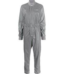 kirin logo embroidered fitted jumpsuit - silver