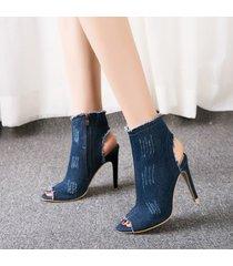 sandalias de tacón alto de mezclilla de verano para mujer -azul oscuro
