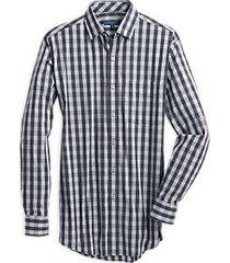 cole haan grand.s charcoal & blue plaid modern fit sport shirt