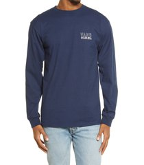 men's vans moonstone beach long sleeve graphic tee, size large - blue