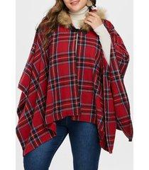 hooded plus size tartan cape coat