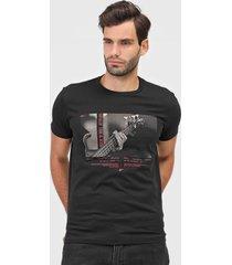 camiseta ellus guitar rock preta