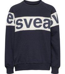 2 col big svea logo crew sweat-shirt tröja blå svea