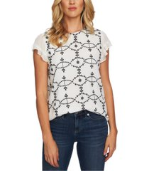 cece embroidered flutter-sleeve top