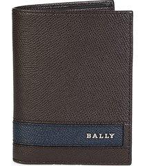 bally men's labie pebbed leather bi-fold wallet - chocolate