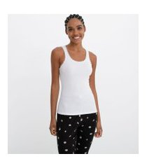 blusa de pijama regata lisa com renda | lov | branco | m