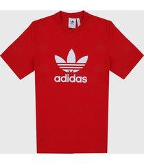 camiseta rojo-blanco adidas originals classics trefoil