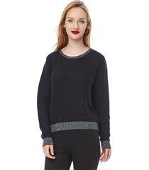 sweater basico mujer negro corona