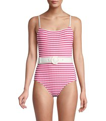solid and striped women's the nina belted one-piece swimsuit - pink cream - size xs