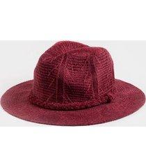 danielle pattern trim panama hat - burgundy