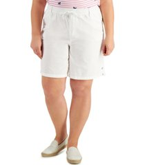 karen scott plus size lisa cotton drawstring-waist shorts, created for macy's