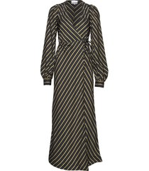 viscose stripe maxi dress galajurk zwart ganni