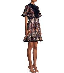 floral silk velvet dress