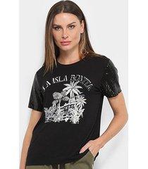 camiseta t-shirt carmim manga curta paetê feminina