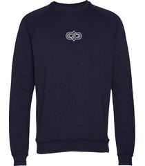 trail sweatshirt gebreide trui met ronde kraag blauw forét