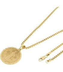 kit medalha são bento tudo joias com corrente veneziana 3mm e 60cm folheado a ouro 18k