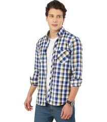 camisa manga larga leñadora los caballeros cuadros amarillos, blancos y azules