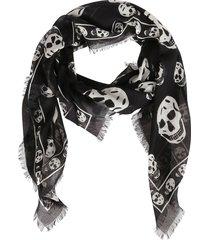alexander mcqueen black modal-silk blend scarf