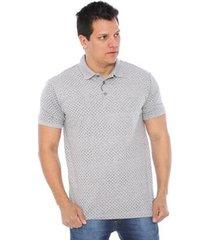 camisa polo hiatto piquet micro estampa manga curta masculina