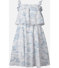 kenzo women's strapless ruffles dress - duck blue - uk 12/eu 42