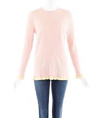 burberry pink cashmere silk rib knit sweater yellow/pink sz: l