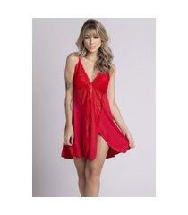 camisola plus size bella fiore modas romantic renda lis vermelho