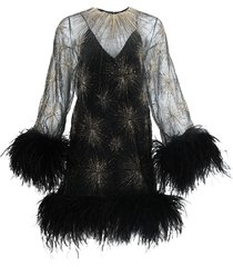 black and gold feathered mini dress