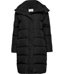 lumiaura solid coat gevoerde lange jas zwart marimekko