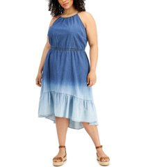 inc plus size halter tiered denim midi dress, created for macy's