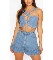chambray frill detail tie top, mid blue