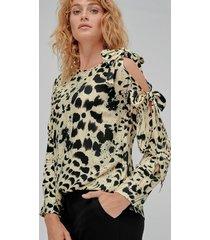 blus bow blouse, leopardmönstrad