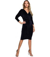 korte jurk moe m561 fluwelen wrap top jurk - marine blauw