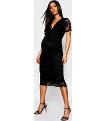 maternity plunge lace midi dress, black