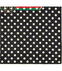 gucci polka dot vintage logo scarf - black