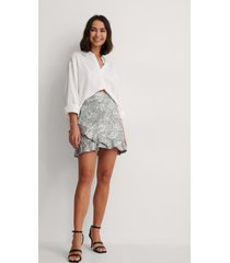 na-kd party jacquard frill metallic skirt - silver
