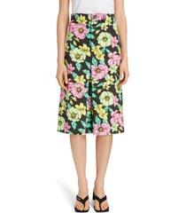 women's balenciaga floral print cotton a-line skirt