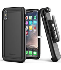 iphone x belt clip case w/ screen protector, encased [scorpio series] dual layer