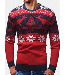 maglione pullover a maniche lunghe stampato cervi pacifici da uomo