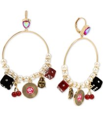 betsey johnson gold-tone crystal & imitation pearl retro charm drop hoop earrings