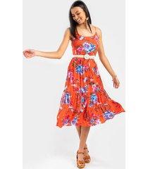 abigail floral midi dress - red