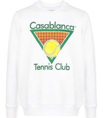 casablanca tennis club logo sweatshirt - white