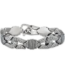 men's large decorative link chain bracelet in stainless steel & black titanium-plate