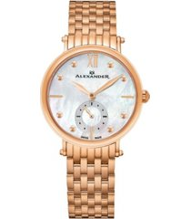 alexander watch a201b-03, ladies quartz small-second watch with rose gold tone stainless steel case on rose gold tone stainless steel bracelet